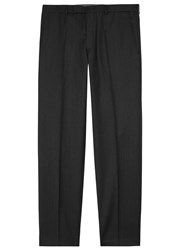 Oscar Jacobson Adam Charcoal Slim Leg Wool Trousers Grey