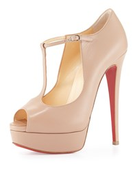 Christian Louboutin Altapoppins T Strap Platform Red Sole Pump Nude Women's