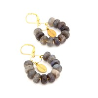 Salome Tribal Collection Labradorite Earrings Gold Grey