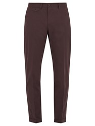 Dolce And Gabbana Mid Rise Slim Leg Stretch Cotton Trousers Burgundy
