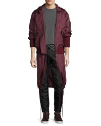 Public School Clemente Hybrid Hooded Bomber Jacket Burgundy