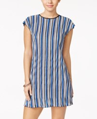 Speechless Juniors' Striped Lattice Back Shift Dress Royal Blue Black