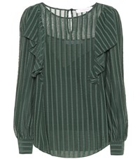 See By Chloe Striped Cotton Blend Ruffle Top Green