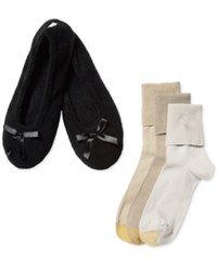 Gold Toe Women's Turn Cuff Socks 3 Pack With Slippers White