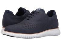 Cole Haan 2.0 Grand Laser Wing Oxford Marine Blue Nubuck Optic White Men's Lace Up Casual Shoes Black