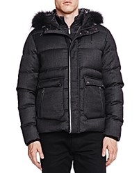 The Kooples New Flannel And Leather Puffer Coat Gray