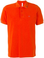 Sun 68 Contrast Logo Polo Shirt Men Cotton L Yellow Orange