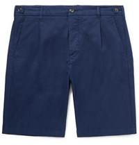 Tod's Slim Fit Pleated Garment Dyed Cotton Blend Shorts Navy