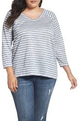 Vince Camuto Plus Size Women's Two By Sheer Stripe Raglan Tee