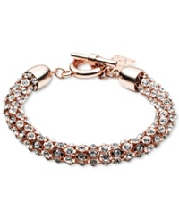 Anne Klein Rose Gold Tone Crystal Pave Tubular Toggle Bracelet