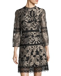 Tahari By Arthur S. Levine Metallic Embroidered Shift Dress Yellow Black
