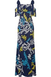 Mary Katrantzou Canasta Cold Shoulder Printed Swiss Dot Chiffon Gown Navy
