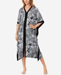 Ellen Tracy Zip Front Printed Caftan White Grid