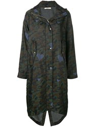 Odeeh Camouflage Print Parka Coat Green