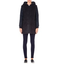Eleven Paris Hooded Textured Coat Navy
