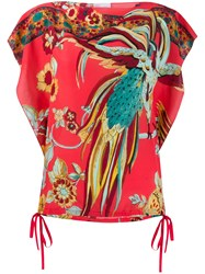 Red Valentino Redvalentino Bird Of Paradise Print Boxy Blouse Pink