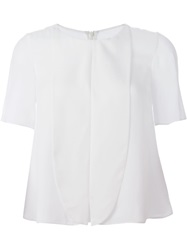 Emporio Armani Bib Detail Shortsleeved Blouse White