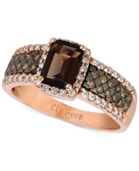 Le Vian Chocolate Quartz 4 5 Ct. T.W. And Diamond 1 2 Ct. T.W. Ring In 14K Rose Gold Brown