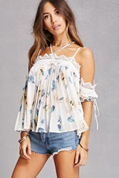 Forever 21 Pleated Chiffon Open Shoulder Top Cream