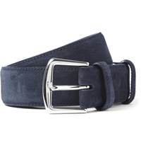 Loro Piana 3.5Cm Blue Suede Belt Navy