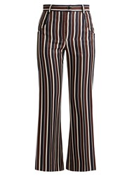 Nina Ricci High Rise Striped Wool And Silk Blend Trousers Brown Multi