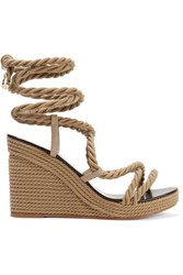 Jimmy Choo Allis 95 Leather Trimmed Rope Wedge Sandals Beige