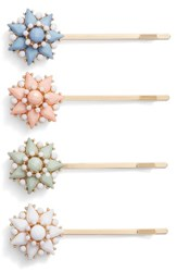 Cara 4 Pack Crystal Flower Bobby Pin