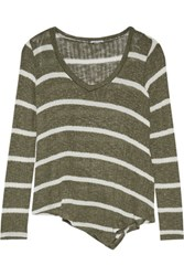 Splendid Asymmetric Striped Open Knit Sweater Army Green