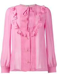 Miu Miu Pleat And Ruffle Detail Blouse Pink And Purple