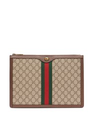 Gucci Gg Supreme Canvas And Leather Portfolio Brown Multi