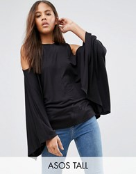 Asos Tall Top With Cold Shoulder And Kimono Sleeve Black