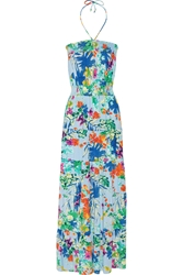 T Bags Printed Stretch Jersey Maxi Dress Blue