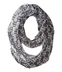 Michael Michael Kors Jet Set Logo With Lurex Small Infinity Scarf Derby Pearl Heather Grey Silver Scarves Gray