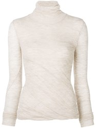 Theory Fitted Roll Neck Top Neutrals