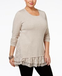 Styleandco. Style Co. Plus Size Lace Trim Tunic Only At Macy's Hammock Heather