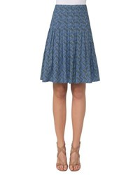 Akris Punto Abstract Print A Line Skirt Blue Pattern