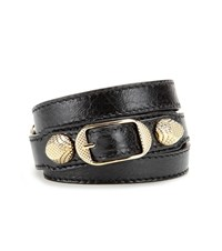 Balenciaga Giant Leather Bracelet Black