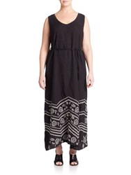 Johnny Was Plus Size Petra Embroidered Linen Maxi Dress Black White
