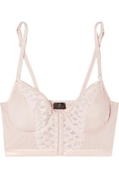 Cosabella Envy Embroidered Stretch Satin And Tulle Underwired Soft Cup Bra Blush