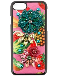 Dolce And Gabbana Tropical Fruit Embellished Iphone 6 Case Black