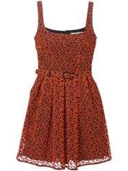 Christopher Kane Broderie Anglaise Skater Dress Yellow And Orange