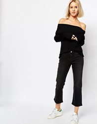 Weekday Cut Mid Rise Kick Flare Crop Jeans Black
