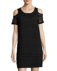 Neiman Marcus Cold Shoulder Lace Shift Dress Black