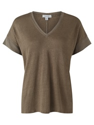 Jigsaw Linen V Neck Silk Mix Top Mid Khaki