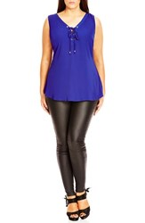 City Chic Plus Size Women's Sleeveless Lace Up Top Cobalt