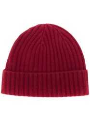 N.Peal Chunky Ribbed Cashmere Beanie Red
