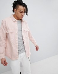 Bershka Denim Overshirt In Pink Pink