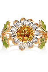Dolce And Gabbana Gold Plated Swarovski Crystal And Enamel Cuff