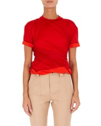 Atlein High Neck Short Sleeve Twisted Jersey Top Red