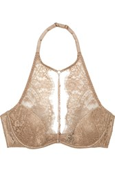 Agent Provocateur Soiree Gayle Embellished Leavers Lace And Stretch Silk Satin Plunge Bra Gold